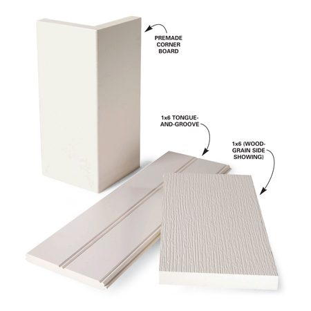 <b>Figure A: Cellular PVC profiles</b><br/>PVC trim is available in standard trim sizes, as tongue-and-groove, as pre-made corner board, and in larger sheets.