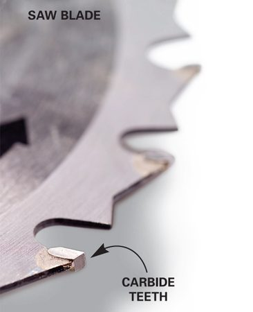 <b>Carbide-tipped saw blade</b></br> Saw blades with carbide teeth will hold their edge when cutting PVC.
