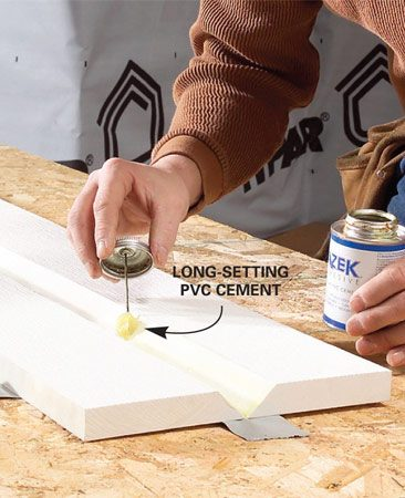 <b>Use PVC cement</b></br> Glue joints and miters together permanently with PVC cement.