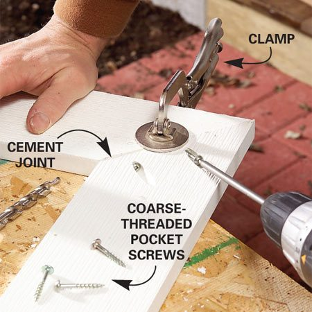 <b>Photo 2: Screw</b><br/>Coat the sides with PVC cement, clamp the two pieces, then draw them together tightly with pocket screws.