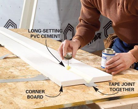 <b>Bevel the boards</b><br/>Rip the two sides on a table saw, then coat the cuts with PVC cement.