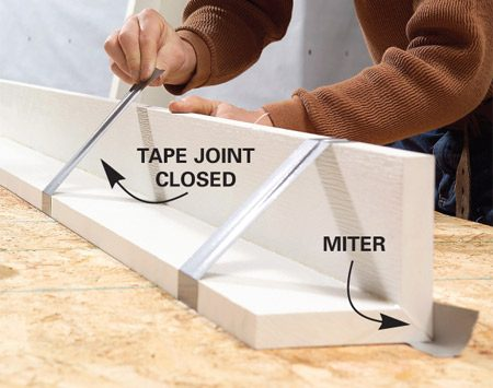 <b>Clamp corner boards </b><br/>Tape or clamp the two boards tightly together until the glue sets.