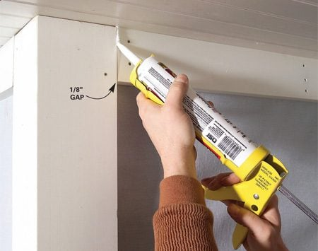 <b>Caulk gaps</b><br/>Fill expansion gaps with acrylic or urethane caulk.