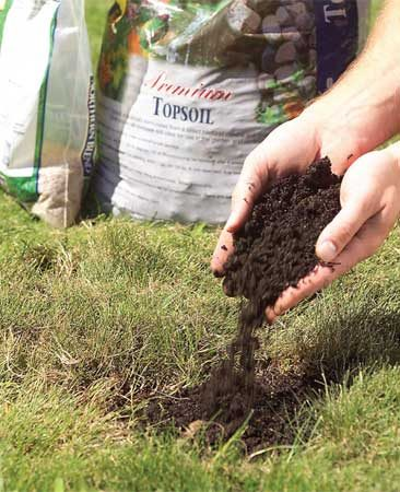 <b>Photo 3: Sprinkle</b></br> Sprinkle on a 1/2-in.-thick layer of topsoil, then pepper it with grass seed. Cover with a pinch of new soil and press it to firm it up. Keep the area moist until the new grass is about 3 in. high.