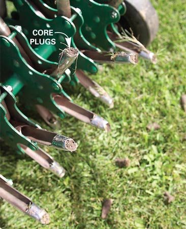 <b>Photo 2: Aerate</b></br> Make two or three passes with an aerator until you've made 3-in.-deep holes 2 in. apart throughout your yard.