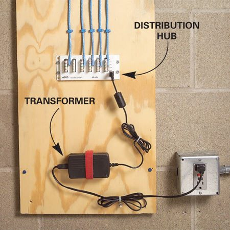 <b>Audio source distribution hub</b></br> The distribution hub divides the signal from the audio source module into outputs, in this case for four rooms. Run a Cat-5e cable from an output to the amplified keypad in each room. A transformer plugs into the distribution hub and provides low-voltage power through the Cat-5e cable to the keypad amplifiers.