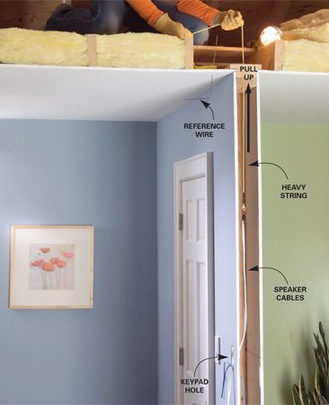 <b>Photo 3: Pull the wires through the walls </b></br> Poke a reference wire through the ceiling, then in the attic find the wire and measure over to find the center of the wall. Drill a 3/4-in. hole down through the top plate. Drop a weighted string through the hole. Attach the cables and pull them up into the attic.