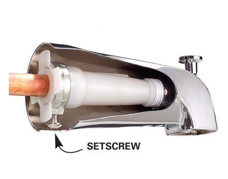 "<b>Photo A: Slip-on spouts</b></br> Slip-on spouts slide over 1/2-in. copper pipe and fasten with a setscrew. This ""universal"" version also has threads inside, so it can screw onto threaded pipe."