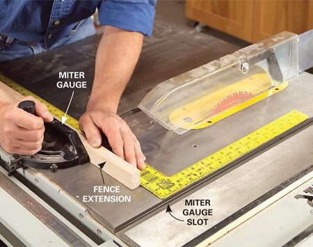 <b>Photo 1: Miter gauge setup</b></br> Screw a 2-ft.-long extension fence to the miter gauge. Square the miter gauge with the miter gauge slot.