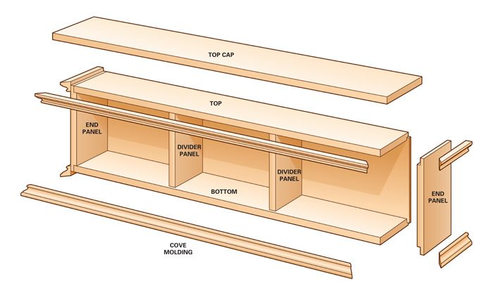 Exploded view of the cabinet.