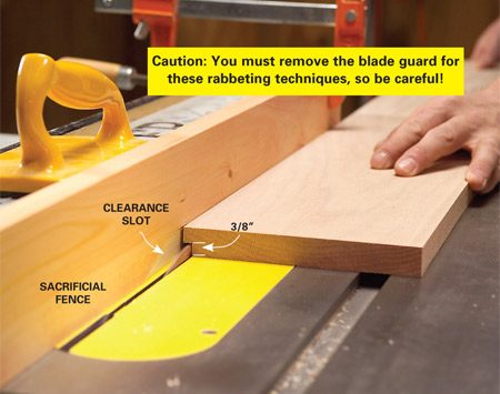 <b>Photo 2: Cut a clearance slot.</b></br> Set the blade to cut 3/8 in. deep. Make a series of passes along the back edge of each board, moving the fence away from the blade with each pass until the width is 1/4 in.