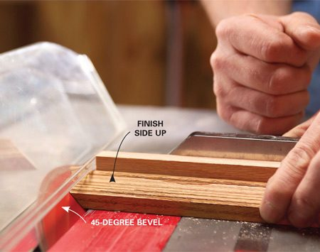 <b>Photo 8: Cut the molding.</b></br> Cut the moldings to length using the miter gauge with the saw blade set at a 45-degree bevel.