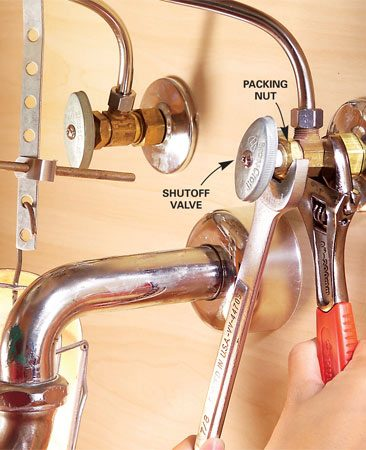<b>Photo 3: Look for shutoff problems</b><br/>Free up (or replace) old, stuck shutoffs and check for leaks.