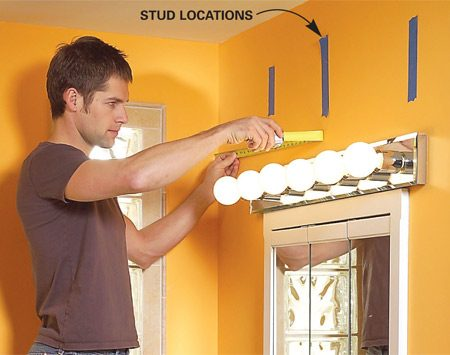 <b>Photo 1: Mark the sink center and studs</b></br> Mark the stud locations with a stud finder, then draw a diagram of the wall (Figure A), marking the sink center, nearby walls and the framing within the wall.