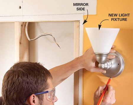 <b>Photo 5: Mark the first sconce position</b></br> Position and outline one sconce, then center a remodeling box in the circle and trace around it.