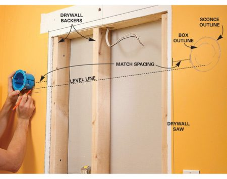 <b>Photo 6: Mark the second sconce location</b></br> Position the second remodeling box to match the first on the opposite side by measuring and using a level. Then cut both box holes with a drywall saw.
