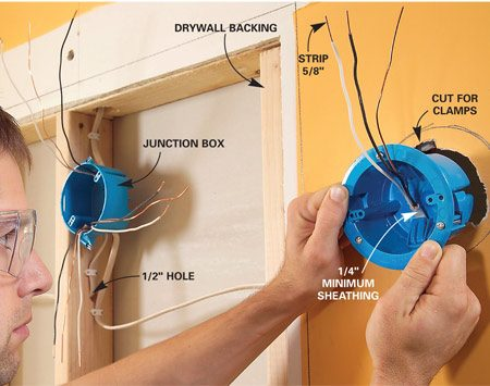 <b>Photo 7: Run the wiring </b></br> Nail a junction box to the framing and thread the existing cable through one of the clamps. Run new cables from the junction box to each remodeling box, then slip the boxes into the holes and tighten the screws.