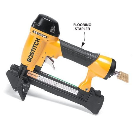 <b>Flooring stapler</b></br> Use a special narrow crown stapler to fasten engineered wood flooring to wood subfloors. The stapler has a special nose that guides the staple through the tongue at the perfect angle. You can rent staplers and compressors at a local rental outlet.
