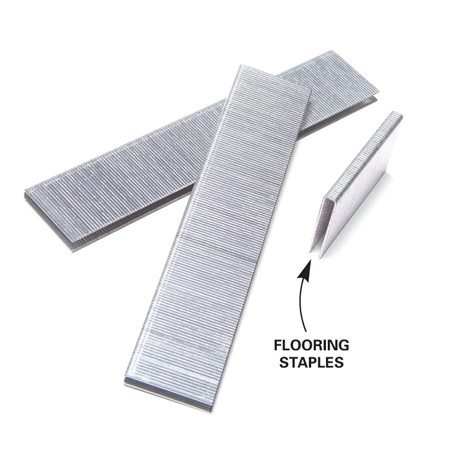<b>Flooring staples</b></br> Flooring staples are thin enough that they won't split the tongue, but unlike finish nails they hold ferociously.