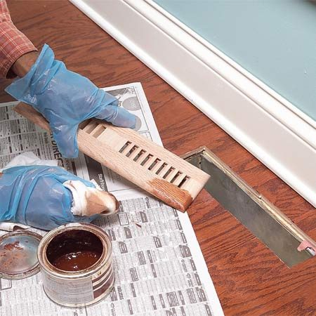 <b>Photo 11: Stain to match</b></br> Mix or blend stains to get a match for wood flooring vents or special transition pieces.