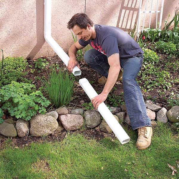 <b>Extend your downspouts</b></br> <p>If you don't have gutters and downspouts, consider adding them. Otherwise most of the water from the roof ends up right near the foundation where you don't want it. If you do have gutters, or if you're adding them, make sure to attach extensions to the downspouts so that the water discharges at least 6 ft. away from the house.</p>