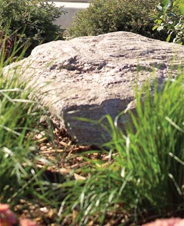 <b>Strategy 4: Feature a few boulders</b></br> Boulders are eye-catching and are natural locations for grasses, flowers and other garden plants. You'll find huge piles of boulders to pick through anywhere that sells landscaping supplies. Prices vary with size, less for breadbox- size ones and more for giant boulders that you'll have to have delivered and placed. Whatever sizes you choose, nest the boulders into the ground a bit. They should look like they were left from a receding glacier—not like they were just rolled off the back of a pickup!
