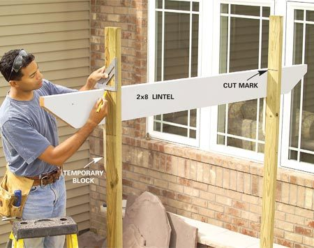 <b>Photo 5: Mark the arbor height</b></br> Cut the lintels to length, then level and rest them on temporary blocks. Mark the height of the center 2x4s, then cut them off with your circular saw.