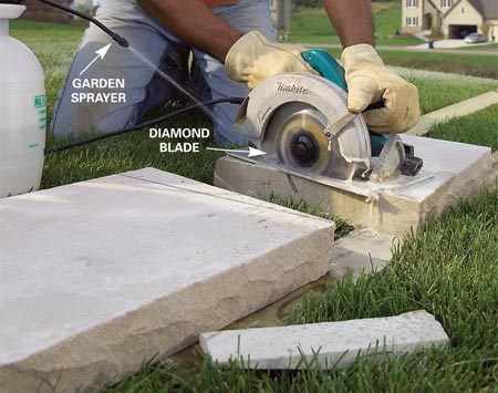 <b>Photo 7: Trim the capstones</b></br> Cut the miters with a diamond saw blade and set the capstones with beads of adhesive.