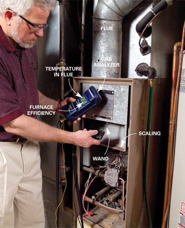 <b>Photo 1: Furnace efficiency test</b></br> The auditor tests the furnace exhaust with an electrical gas analyzer, which gives a combustion efficiency reading. It also measures draft pressure to determine if flue gases might leak into the house.