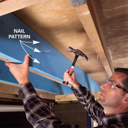 <b>Nail the new joist in place</b></br> Fasten the sister joist to the existing joist with three nails every 16 in.