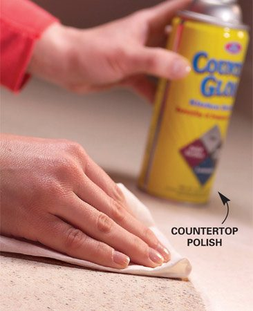 <b>Photo 3: Protect against future stains</b></br> Apply a protective coating to prevent stains. Spray or wipe on a product meant for countertops and wipe off the excess.