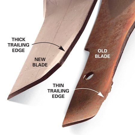 A thin trailing edge: The trailing edge, or fin, is the edge<br/> opposite the cutting edge. This fin is often slanted<br/> upward, which creates an updraft to lift the grass and<br/> grass clippings. Dust and sand will wear this fin down.<br/> When it's thin, replace the blade.