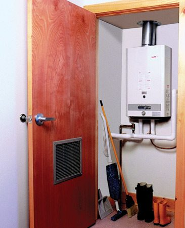 <b>Tankless water heater mounts on wall</b></br> Smaller tankless water heaters take up very little space.