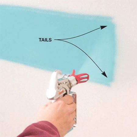 "<b>Photo 5: Adjust the pressure</b></br> <p>Turn on the pump  and move   the prime/spray  lever to the ""spray""  position. Spray a strip of   paint across a  piece of cardboard to   check the spray  pattern. If the spray   pattern has  tails, the pressure is set too low. Turn up  the pressure. </p>"