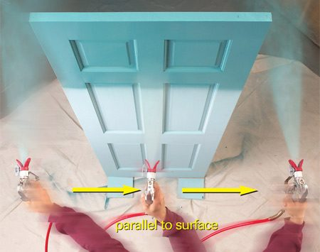 <b>Photo 6: Spraying technique Step 1</b></br> <p>Squeeze the  trigger   before you reach  the   edge of the  door. Move   the sprayer  quickly across   the door,  keeping it parallel   to the surface.  Release   the trigger when  the   sprayer is past  the opposite edge of the  door. </p>