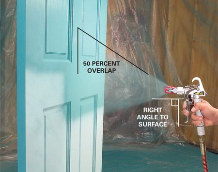 <b>Photo 7: Spraying technique Step 2</b></br> Overlap about half of the previously painted strip when you make the next pass with the sprayer. Keep the gun perpendicular to the surface.