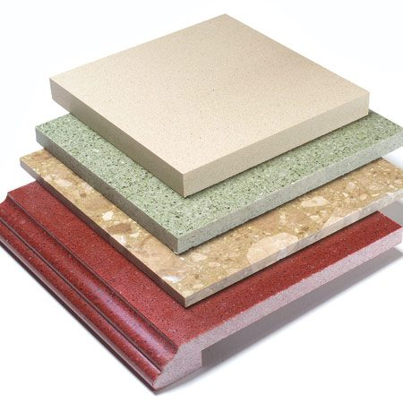 <b>Engineered stone</b></br> Almost indistinguishable from solid stone, but with more consistent colors.
