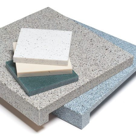 <b>Solid surface </b><br/>Solid surface has a softer, warmer feel than stone, and is available in a huge range of colors and styles.  An especially appealing feature is that seams are invisible.