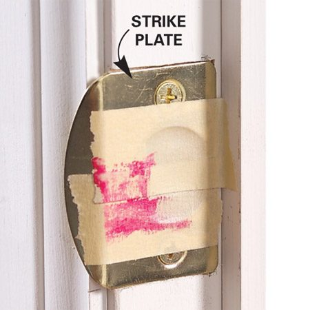 <b>The results</b></br> The lipstick will smear the strike plate as it slides across it, showing exactly where the misalignment is.