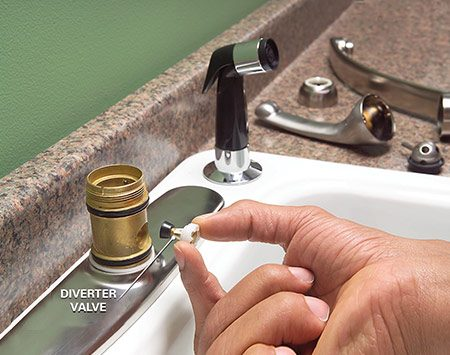 Disassemble the faucet to access the diverter.