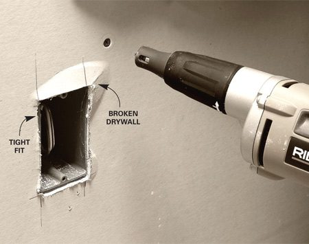 <b>Wrong way = Force fit</b></br> Forcing the drywall over outlet boxes.