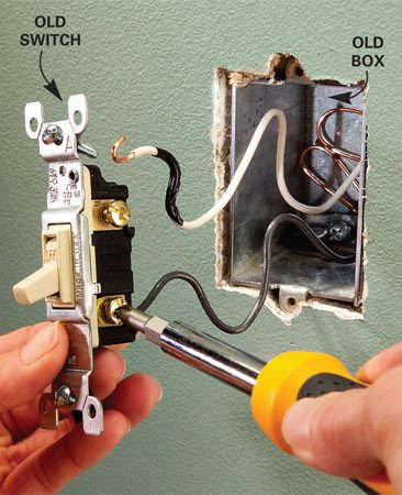 <b>Photo 1: Remove the existing switch</b><br/>Remove the cover plate to the existing switch (the power is off). Then unscrew and remove the switch. Cut the electrical box loose and remove it.