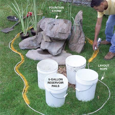 <b>Photo 1: Mark the fountain location</b><br/>Group the pails and roughly assemble the stone fountain. When you&#39;re satisfied, mark the edges with spray paint.
