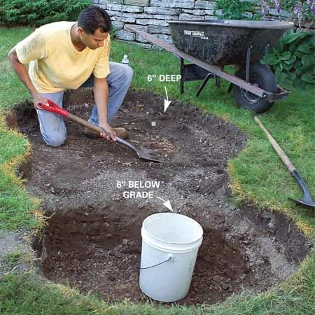 <b>Photo 2: Dig out the fountain</b></br> Dig the reservoir end of the hole 6 in. deeper than the pail height and the fountain end 6 in. deep overall.