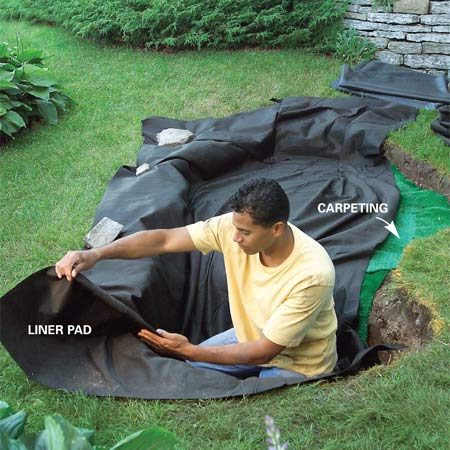 <b>Photo 3: Insert the carpet and liner pad</b><br/>Lay carpeting in the bottom of the hole. Then lay in the liner pad, folding it to follow the contours of the hole.