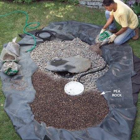 <b>Photo 9: Spread the pea gravel</b></br> Pour in and level the pea gravel until it's even with the edges. Then use a steel rake to even out the surface.