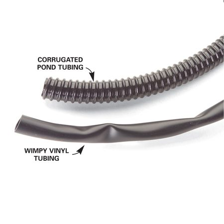 <b>Corrugated tubing verses vinyl tubing</b><br/>Corrugated pond tubing is sturdier than traditional vinyl tubing.
