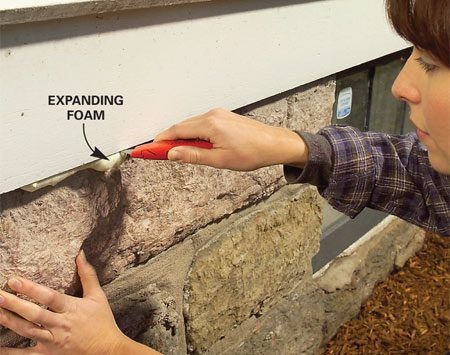 <b>Photo 7: Trim foam when hard</b><br/>Trim the foam flush using a utility knife after allowing the foam to harden overnight. To trim off a thicker section of foam, use an old steak knife.