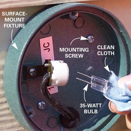 <b>Photo 6: Installing lamps</b></br> Install the lamp in the fixture socket. Use a small cloth or tissue to protect the bulb. The oils on your skin can cause premature lamp failure.