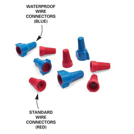 <b>Cable connectors</b></br> Use waterproof connectors anywhere wire might get wet. Standard connectors are used in dry locations.